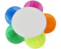 Plastový zvýrazňovač CRAMP tvaru květiny, 5 barev - bílá