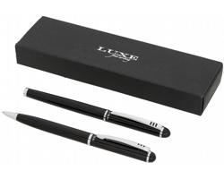 Sada kuličkového pera a rolleru Luxe LANGE v dárkové krabičce - černá