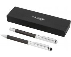 Dárková sada kovového kuličkového pera a rolleru Luxe SEEL se stylusem - středně šedá