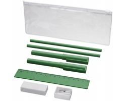 Plastový penál FRIES a psací potřeby, 8 komponentů - zelená