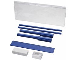 Plastový penál FRIES a psací potřeby, 8 komponentů - modrá