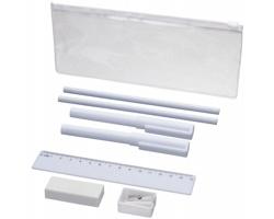 Plastový penál FRIES a psací potřeby, 8 komponentů - bílá