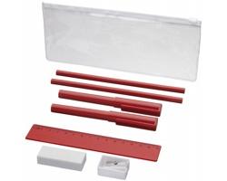 Plastový penál FRIES a psací potřeby, 8 komponentů - červená