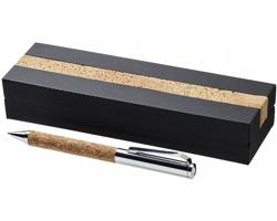 Korkové kuličkové pero Luxe GRIT v dárkovém balení - přírodní / stříbrná