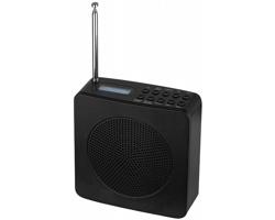 Radiobudík s textovými infiormacemi a anténou SCION - černá