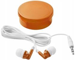 Sluchátka typu pecky FLIES v barevném pouzdře - transparentní oranžová / bílá