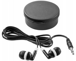 Sluchátka typu pecky FLIES v barevném pouzdře - transparentní černá