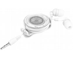 Plastová skládací sluchátka PIETY s klipem v blikajícím pouzdru - bílá