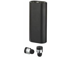 Kovová bezdrátová sluchátka DREY s powerbankou - černá