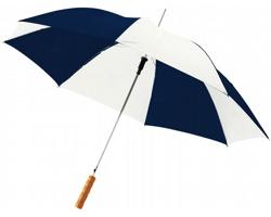 Automatický deštník SLIM s dřevěnou rukojetí - námořní modrá / bílá
