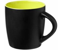 Keramický hrnek DOGGO s barevným kontrastem, 350 ml - černá / jemně zelená