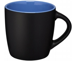 Keramický hrnek DOGGO s barevným kontrastem, 350 ml - černá / modrá