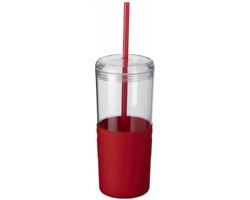 Plastový hrnek se slámkou FORTS, 650 ml - červená