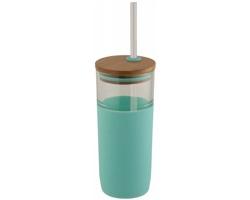 Skleněný jednoplášťový pohárek RIFFRAFF se silikonovým úchopem a bambusovým víčkem, 600 ml - modrá