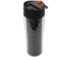 Cestovní dvouplášťová termoska FRET s geometrickým designem, 475 ml - černá