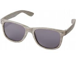 Plastové sluneční brýle FREE s úpravou imitace dřeva - šedá