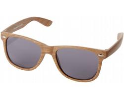 Plastové sluneční brýle FREE s úpravou imitace dřeva - hnědá