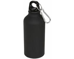 Hliníková sportovní lahev CONNOR s karabinkou, 400 ml - černá