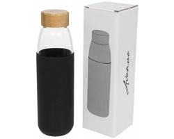 Skleněná sportovní lahev GULF s dřevěným uzávěrem, 540 ml - černá