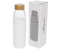 Skleněná sportovní lahev GULF s dřevěným uzávěrem, 540 ml - bílá