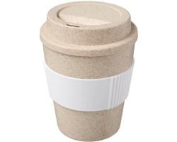 Plastový cestovní hrnek MUONS s vlákny z pšeničné slámy, 350 ml - bílá