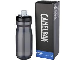 Plastová značková sportovní lahev SHACK, 620 ml - transparentní černá