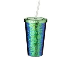 Plastový kelímek SWAG s flitry, 470 ml - zelená