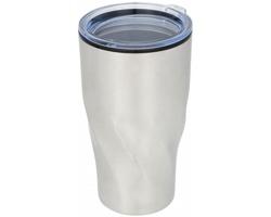 Dvouplášťový termohrnek JUST, 420 ml - stříbrná