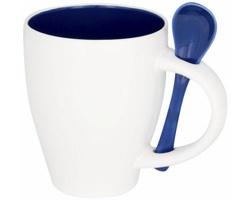 Keramický kontrastní hrnek CIGS s lžičkou, 250 ml - modrá