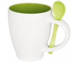 Keramický kontrastní hrnek CIGS s lžičkou, 250 ml - jemně zelená