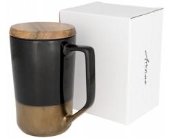 Keramický designový hrnek NIXIE s dřevěným víčkem, 470 ml - černá