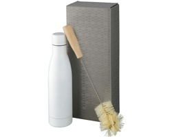 Kovová termolahev SLUMP s dvojitou izolační stěnou a kartáčem, 500 ml - bílá