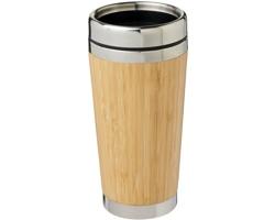 Nerezový cestovní termohrnek REVOKERS s bambusovým povrchem, 450 ml - hnědá