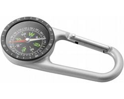 Kovový kompas s karabinkou HYENA - stříbrná