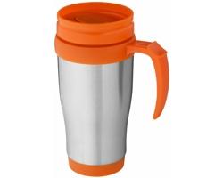 Nerezový termohrnek UNAPT s posuvným víčkem, 330 ml - stříbrná / oranžová