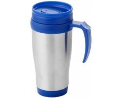 Nerezový termohrnek UNAPT s posuvným víčkem, 330 ml - stříbrná / modrá