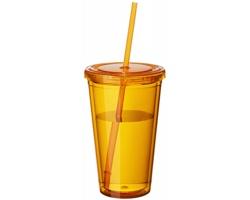 Sklenice se slámkou BELL, 450 ml - transparentní oranžová