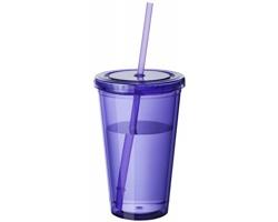Sklenice se slámkou BELL, 450 ml - purpurová