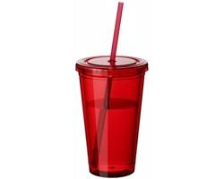 Sklenice se slámkou BELL, 450 ml - transparentní červená