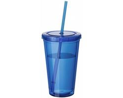 Sklenice se slámkou BELL, 450 ml - transparentní modrá