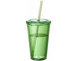 Sklenice se slámkou BELL, 450 ml - transparentní zelená