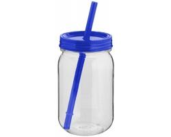Tritanová sklenice FARE s barevným víčkem a brčkem, 750 ml - transparentní / modrá