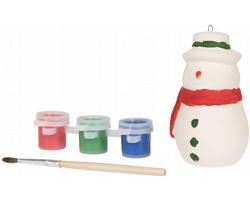 Keramický sněhulák CHAFFEE se štětcem a sadou barev - bílá