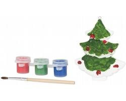 Keramická sada na malování vánoční stromek EULER se štětcem a barvami - bílá