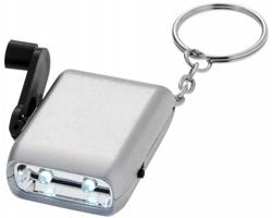 Plastová klíčenka POENA s LED svítilnou s dynamem - stříbrná