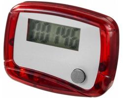 Plastový krokoměr SEGNI s klipem na opasek - červená / bílá