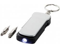 Plastová multifunkční LED svítilna na klíče CUSHY, 6 funkcí - stříbrná