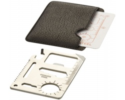 Nerezová karta nástrojů FLOE v koženkovém obalu nabízí 15 funkcí - stříbrná / černá