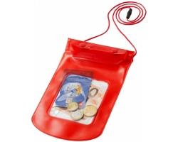 Úložný vak LORAINE z PVC včetně lanyardu s bezpečnostní přeskou proti protržení - červená