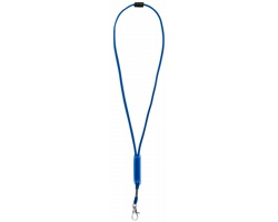 Polyesterový lanyard JINNI s nastavitelným polem - královská modrá